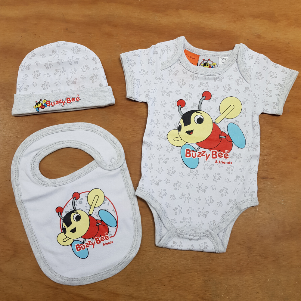 Buzzy Bee and Friends New Born Gift Set with beanie, bib and body suit from Funky Gifts NZ