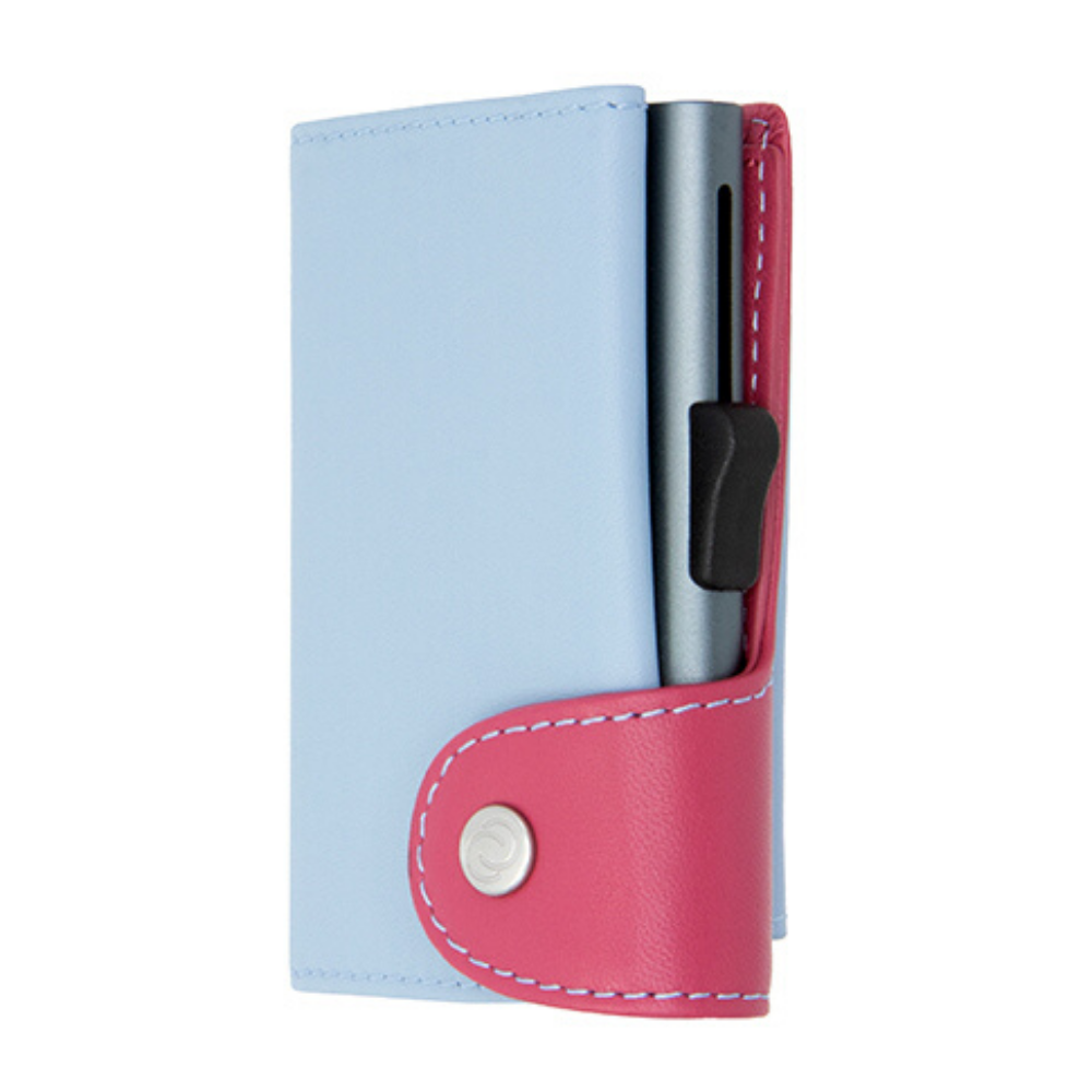C-Secure - XL Pastel Leather Cardholder & Coin Wallet - ICE/CHERRY Grey