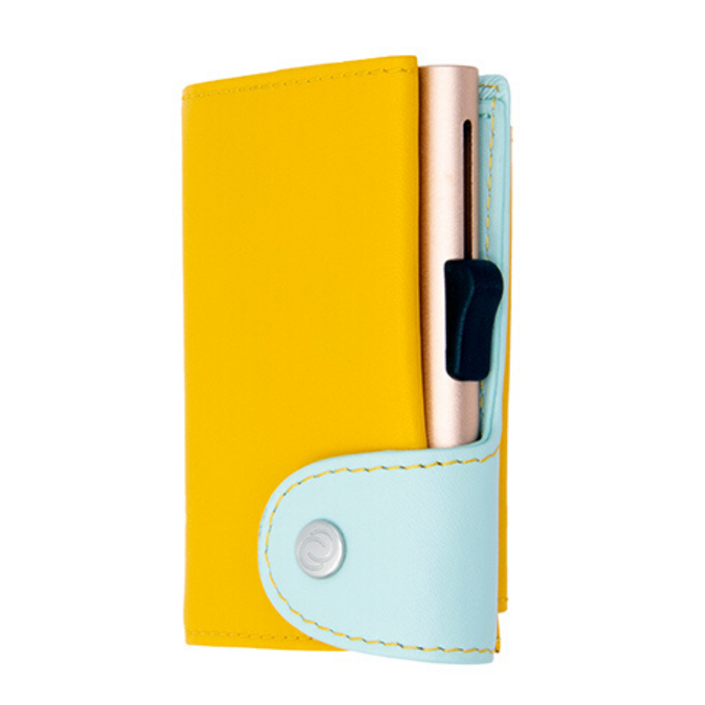 C-Secure Italian Leather Cardholder and Coin Wallet Extra Large Saffron and Aqua champagne gold colour from Funky Gifts NZ