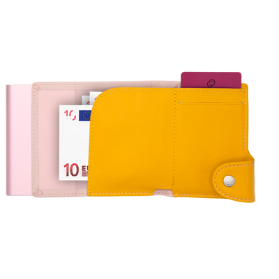 C-Secure Cardholder and Coin Wallet Extra large Blush and Saffron colour rose gold from Funky Gifts NZ