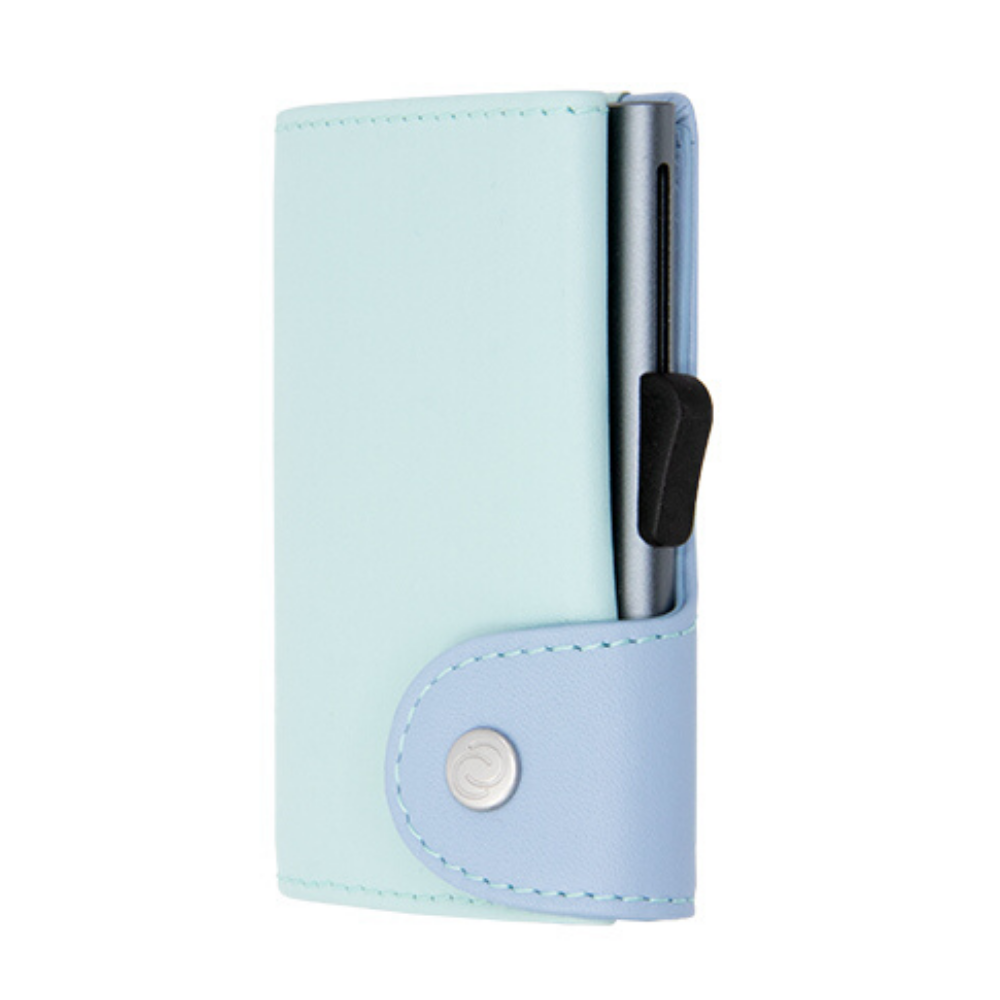 C-Secure - Pastel Leather Cardholder & Coin Wallet - Aqua/Ice Grey