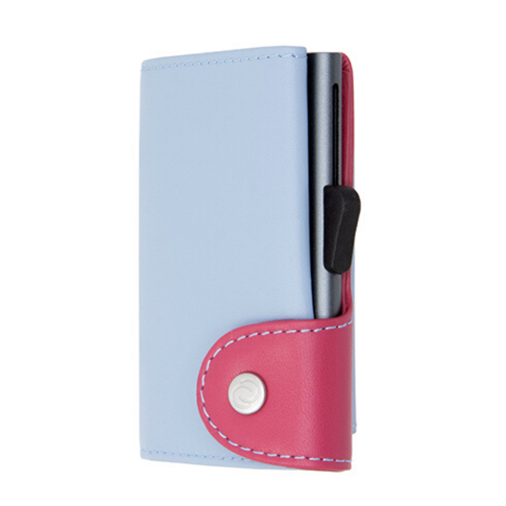 C-Secure - Pastel Leather Cardholder & Coin Wallet - ICE/CHERRY Grey