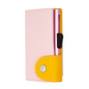 Pastel Leather Wallet Cardholder with Coin - Blush/Saffron
