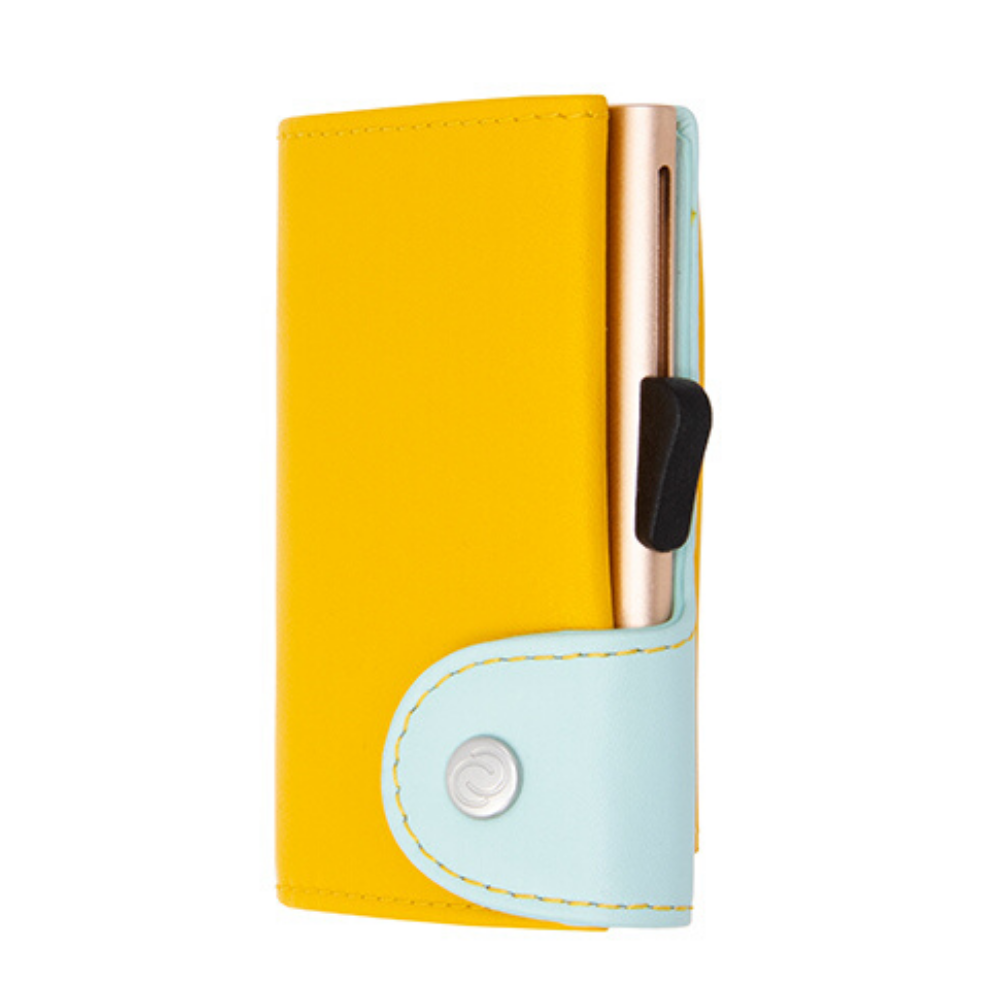 C-Secure Cardholder and Coin Wallet Saffron Aqua Champagne Gold Colour from Funky Gifts NZ
