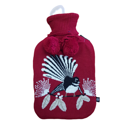 Hot Water Bottle - Flirting Fantails Red