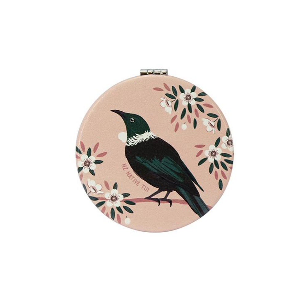 Native NZ bird Tui Pink Compact Mirror from Funky Gifts NZ