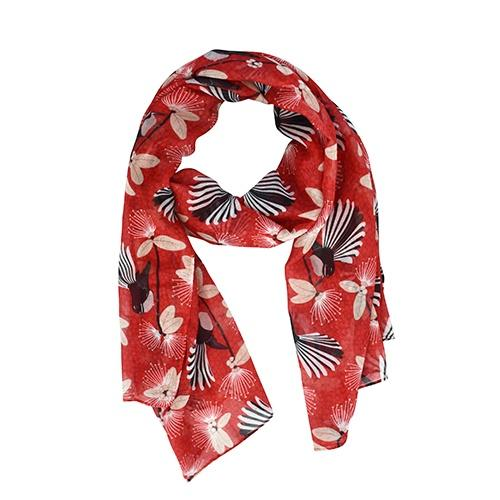 Designer Scarf Kiwiana DQ Flirting Fantail Red Women