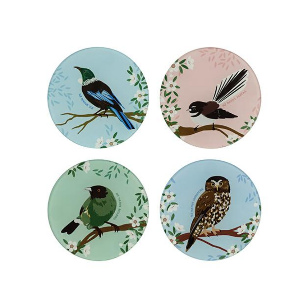 Native Skies Glass Coasters Set of 4 featuring fantail, ruru, tui and bluebird from funky gifts nz