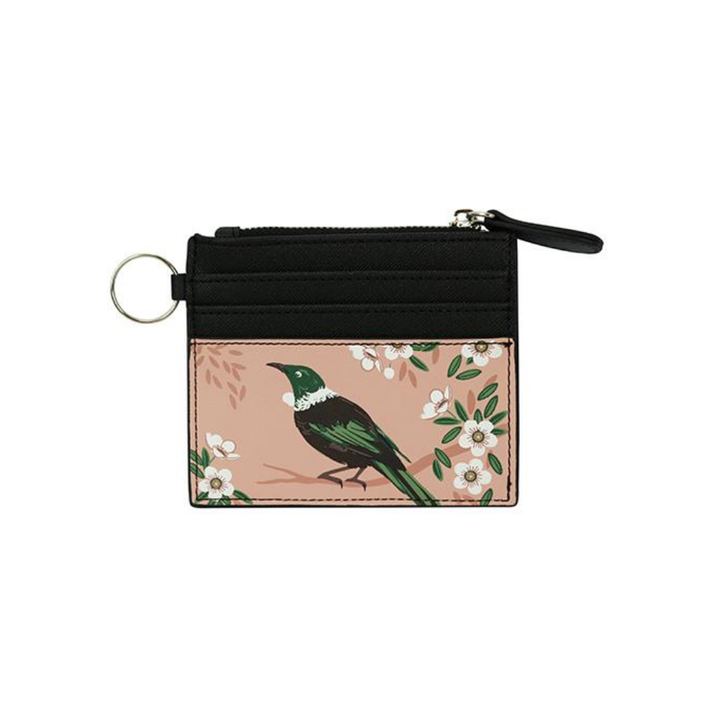 PInk Card Wallet with Native Bird Tui from Funky Gifts NZ