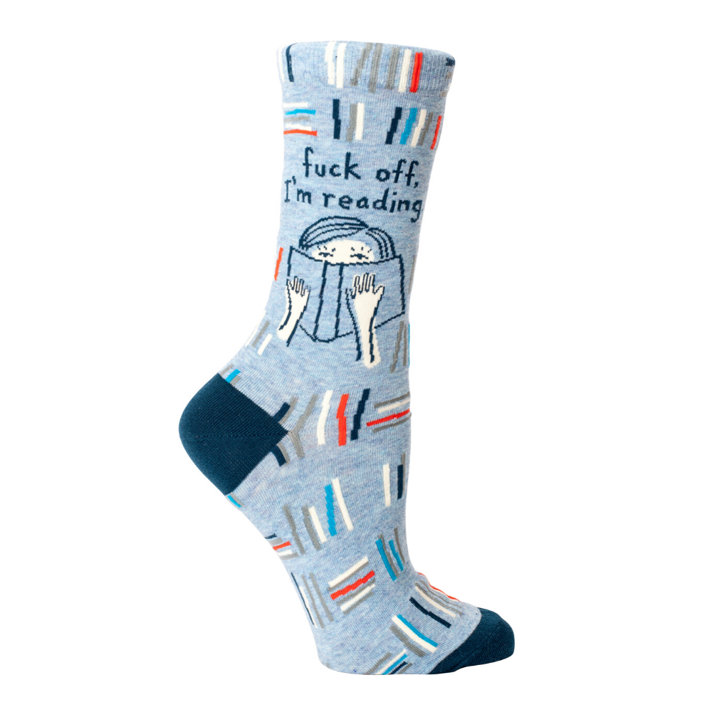 Blue Q Socks – Women's Crew – F*ck Off, I'm Reading