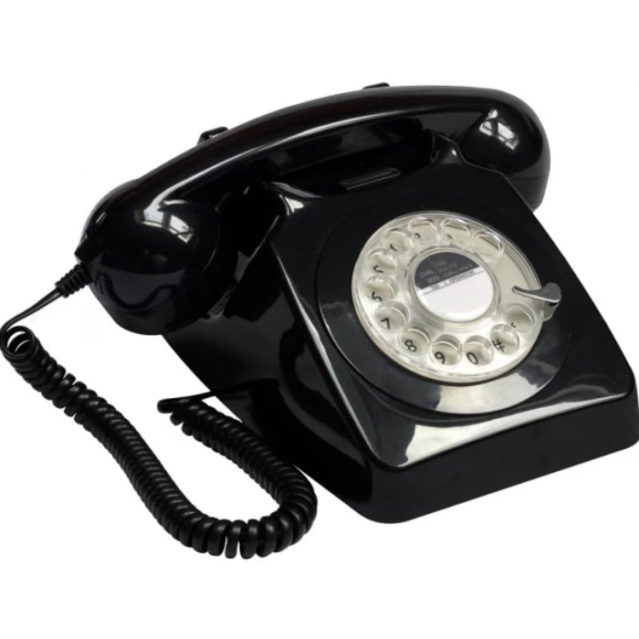 GPO 746 Rotary Dial Retro Desk Phone - Black