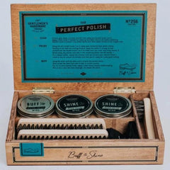 Gents Hardware - Deluxe Shoe Polish Kit In Cigar Box Funky Gifts NZ