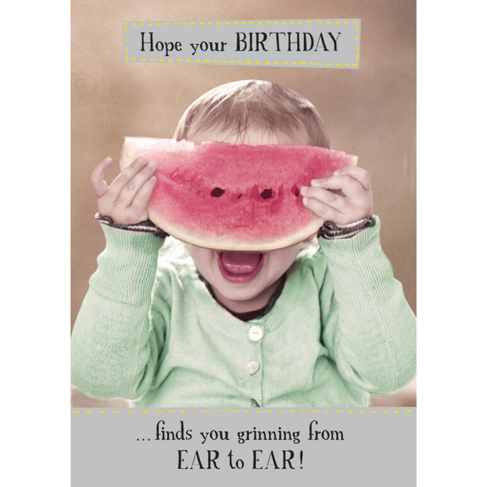 Hope your birthday finds you grinning from ear to ear Greeting card from Funky Gifts NZ