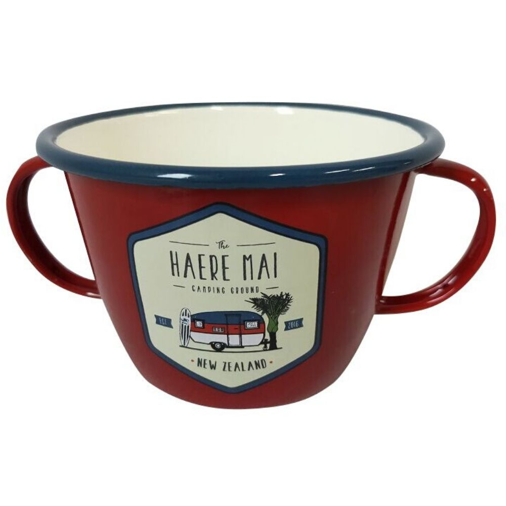 Haere Mai Two Handled Enamel Mug