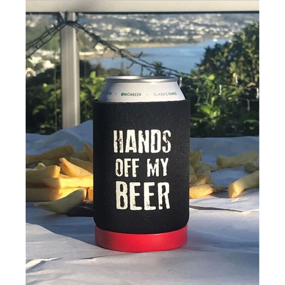 Single Neoprene Can Holder 'Hands Off My Beer' Bottle Opener