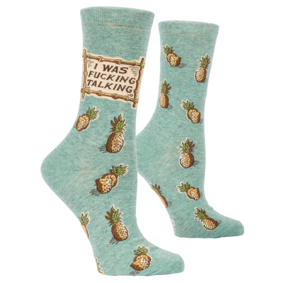 Blue Q Socks – Women's Crew – I Was F*cking Talking