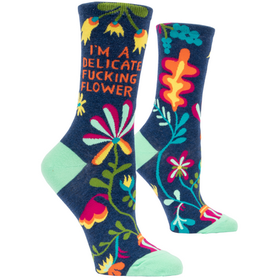 Blue Q Sock- Delicate Fucking Flower - Womens Crew Socks