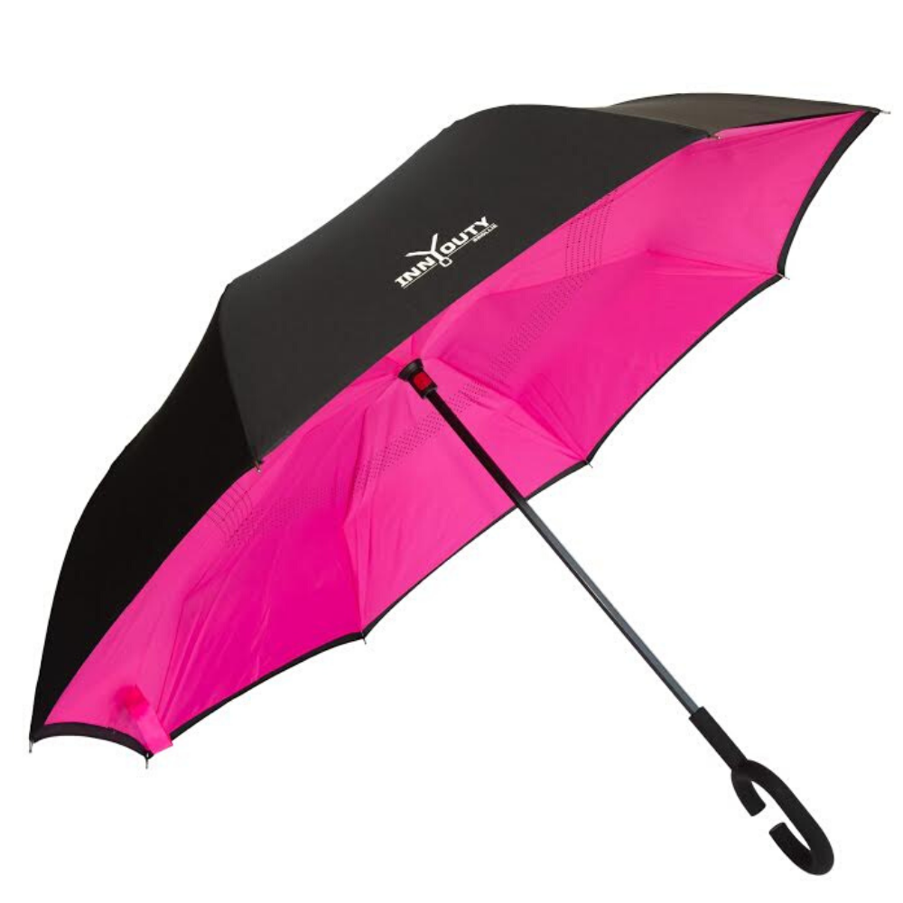 Inny Outy Swiss designed double layer Umbrella from Funky Gifts NZ Pink Colour
