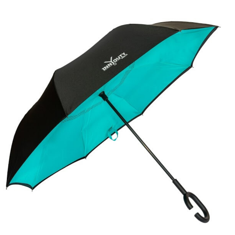 Inny Outy Swiss designed double layer Umbrella from Funky Gifts NZ Turquiose Colour
