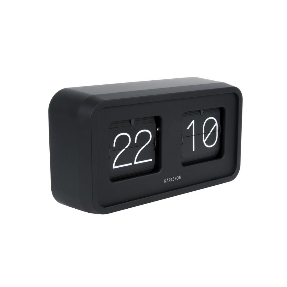 Karlsson Boxed Flip Clock BOLD in Black from Funky Gifts NZ