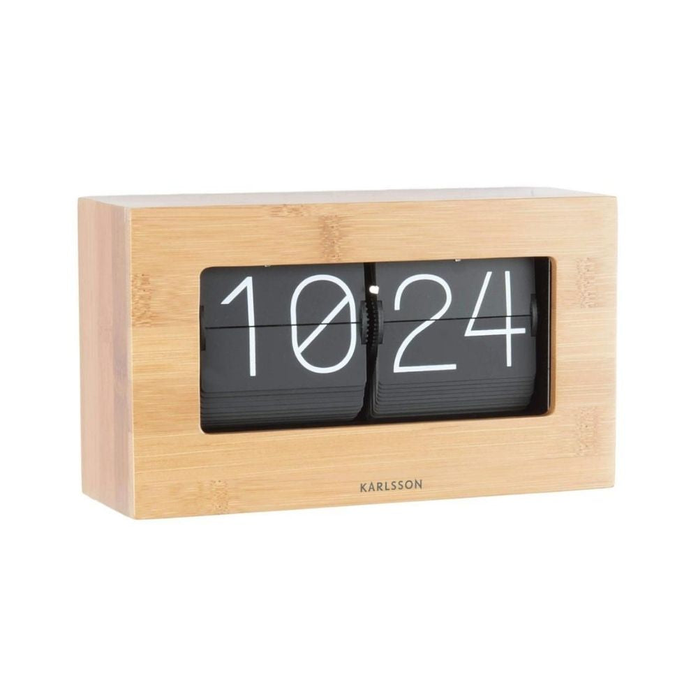 Karlsson Boxed Flip Clock Medium - Bamboo