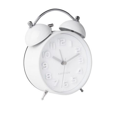 Karlsson Mr White Bell Alarm Clock - White
