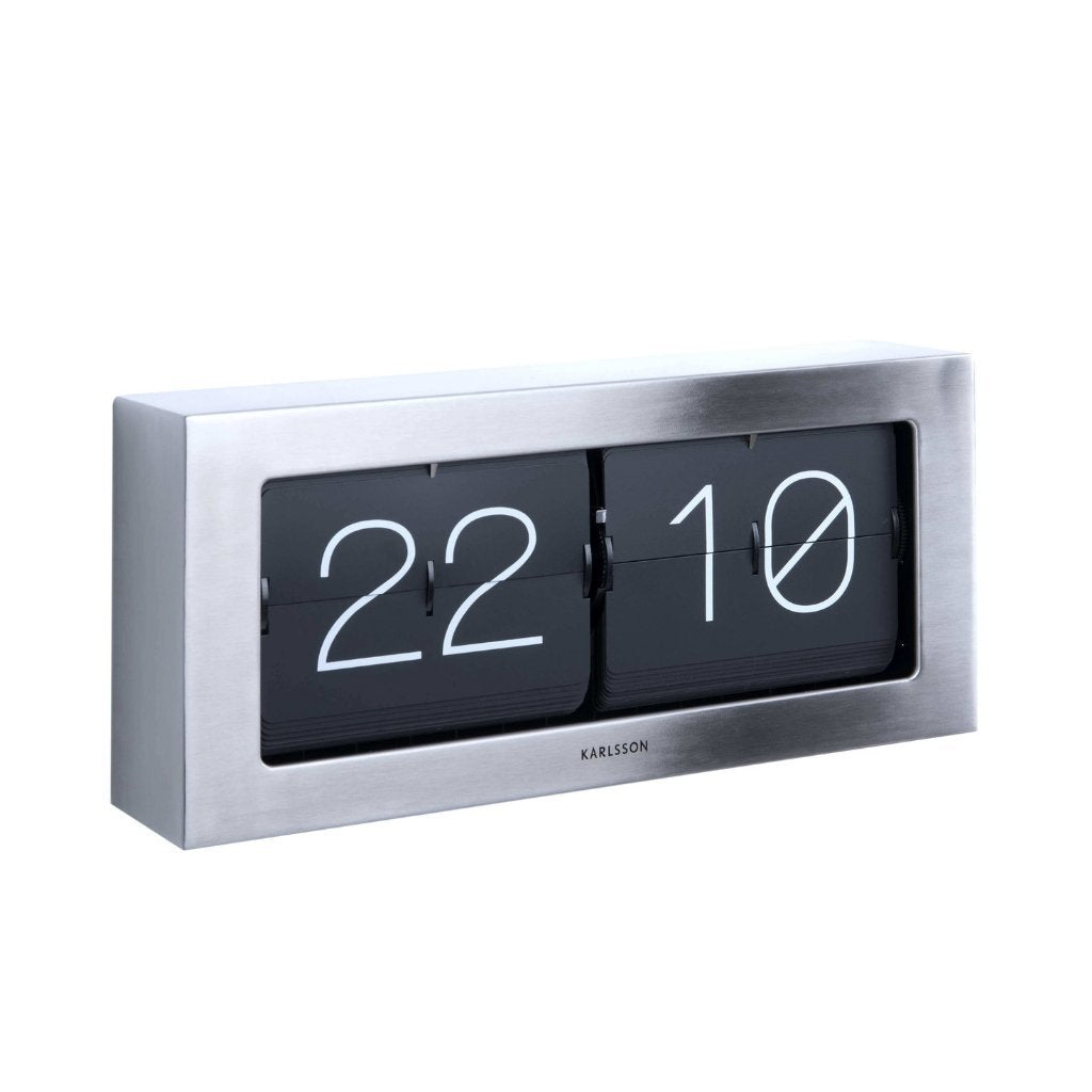 Karlsson Boxed Flip Clock XL - Steel