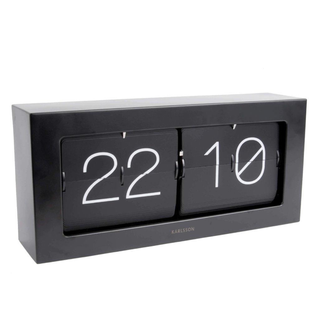 Karlsson Boxed Flip Clock XL- Matte Black