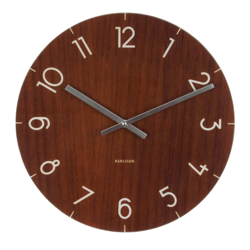 Karlsson Glass Dark Wood Wall Clock Small