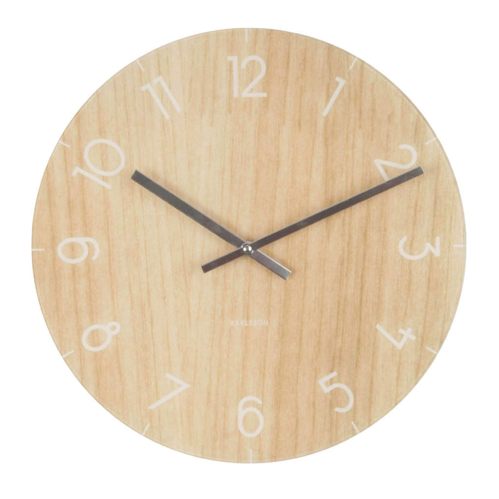 Karlsson Glass Light Wood Wall Clock Small