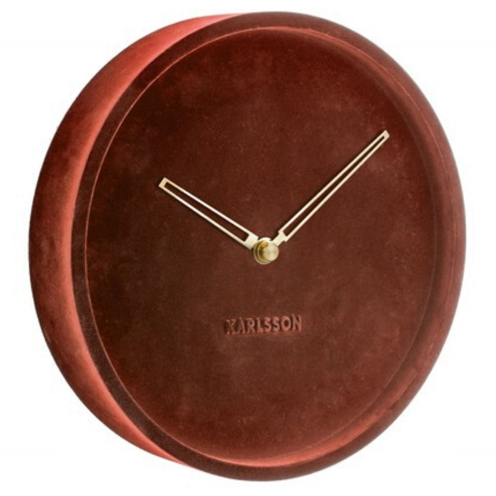 Karlsson Lush Velvet Red Clock