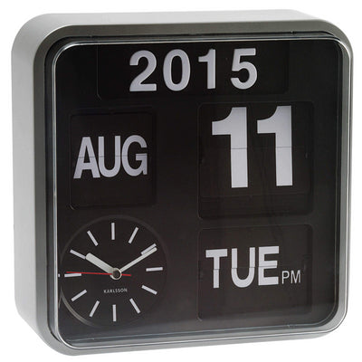 Karlsson Mini Flip Wall Clock Silver
