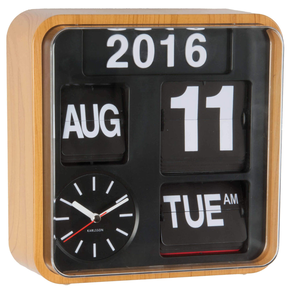 Karlsson Mini Flip Wall Clock Wood