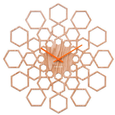 Karlsson Sunshine Hexagon Wood Wall Clock