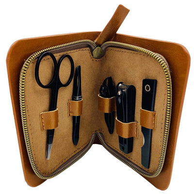Manicure Survival Kit Matte Black 5 tools with a leather carry case