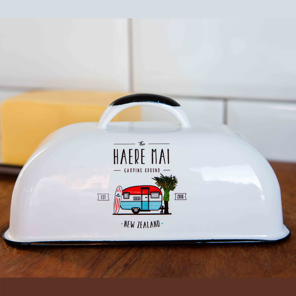 Moana Road Butter Dish in White featuring The Haere Mai Camping ground and a cute retro caravan