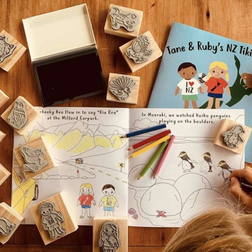 Tane and Ruby's NZ Tiki Tour Stamp Activity Set from Funky Gifts NZ
