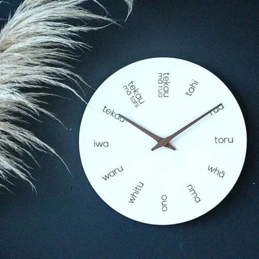 moana road te reo wooden clock light wood from funky gifts nz
