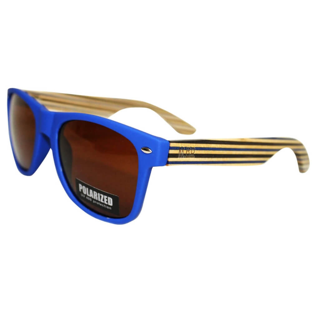 Moana Road Wooden Sunnies Blue With Striped Arms #455
