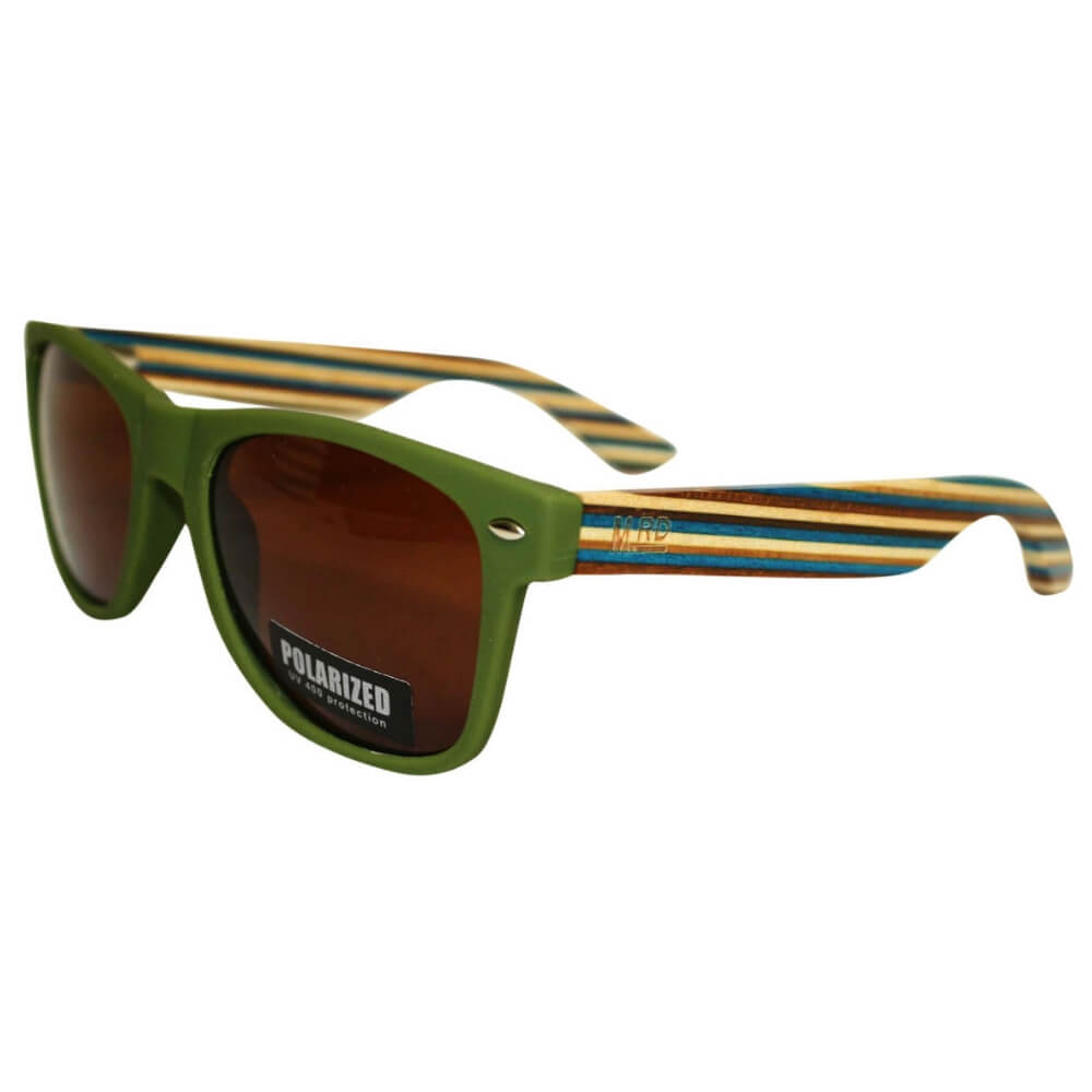 Moana Road Wooden Sunnies Green With Striped Arms #463