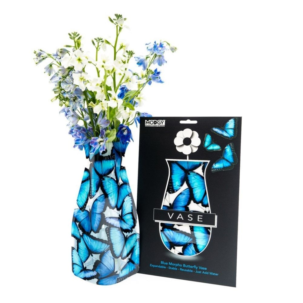 Blue morpho Butterfly Modgy Vase from Funky Gifts NZ