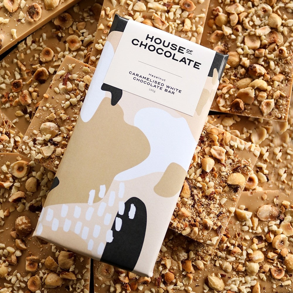 NZ DRY ROASTED HAZELNUT CARAMELISED WHITE CHOCOLATE BAR