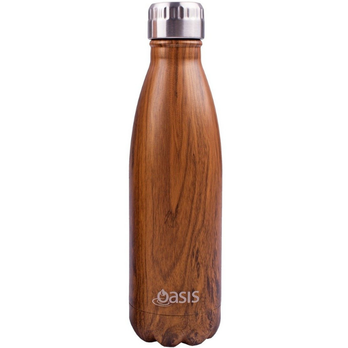 Oasis Stainless Steel Deluxe Bottle 750ml - Teak