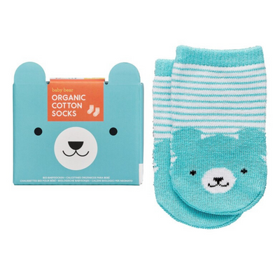 Organic Cotton baby Socks in Baby Bear Blue from funky gifts nz
