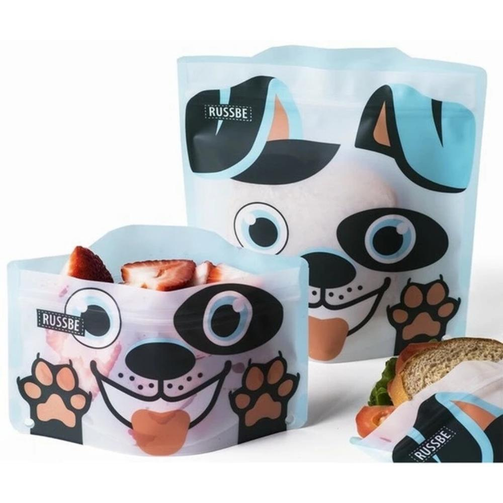 Set of 4 Reusable Snack and Sandwich Bags - Dog