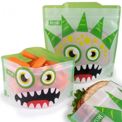 Set of 4 Reusable Snack and Sandwich Bags - Green Monster