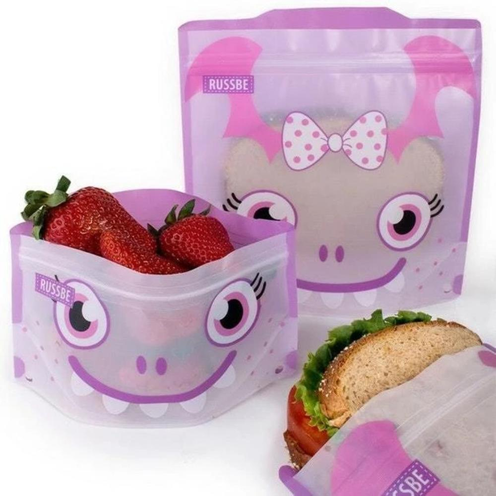 Set of 4 Reusable Snack and Sandwich Bags - Purple Monster