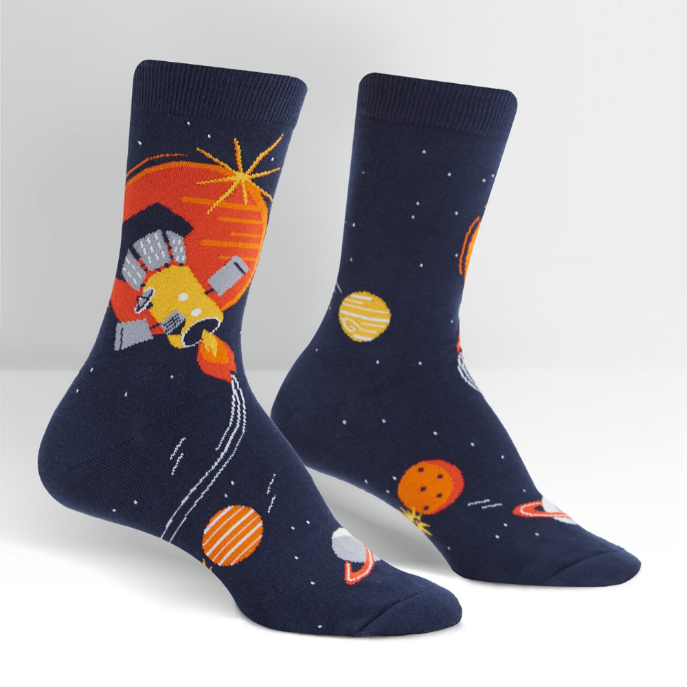 Fly Me to the Sun womens crew socks from sock it to me at funky gifts nz