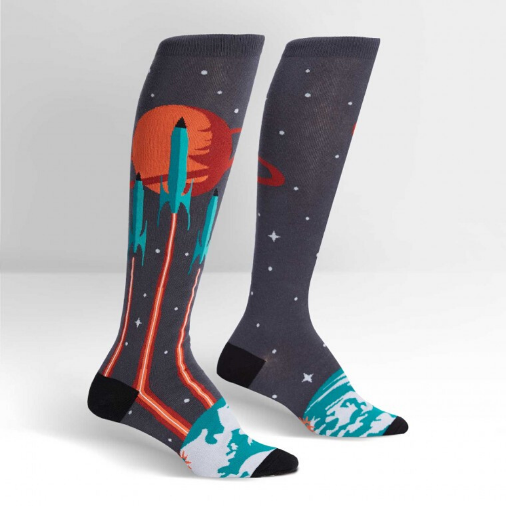 Launch From Earth Knee High socks Unisex from Funky GIfts NZ