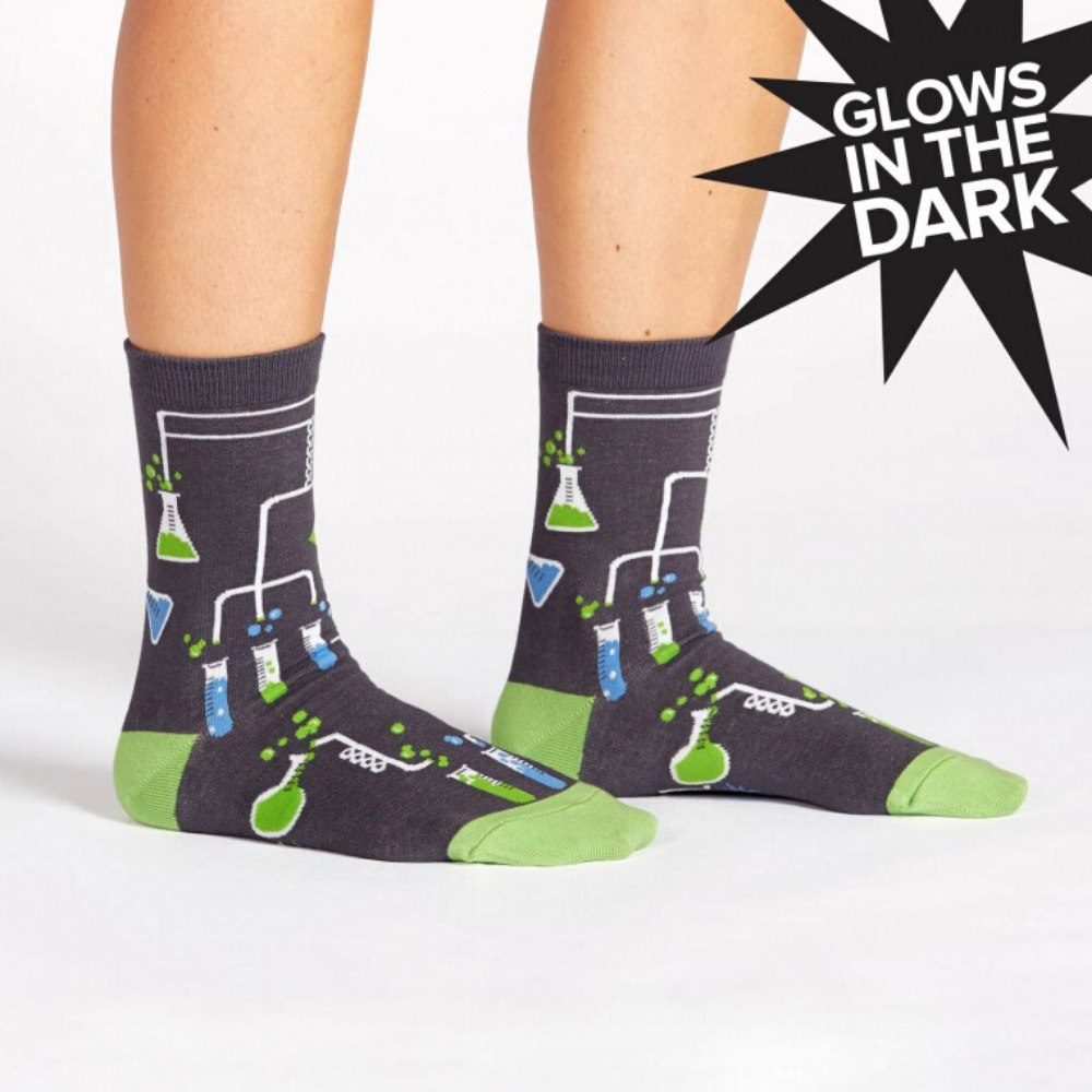 sock it to me womens crew socks laboratory glow in the dark from funky gifts nz